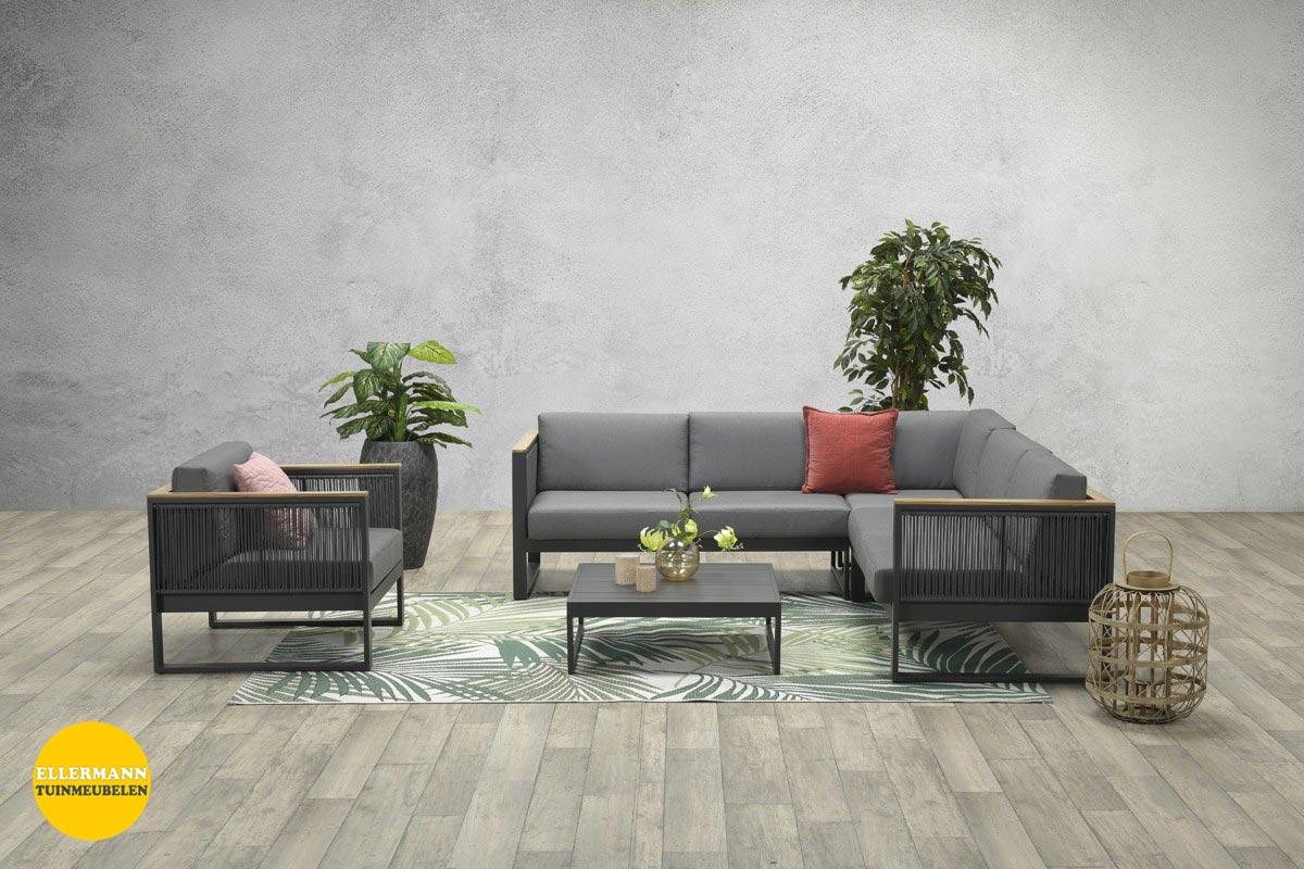 alain-loungeset-4-delig-carbon-black-rope-mid-grey